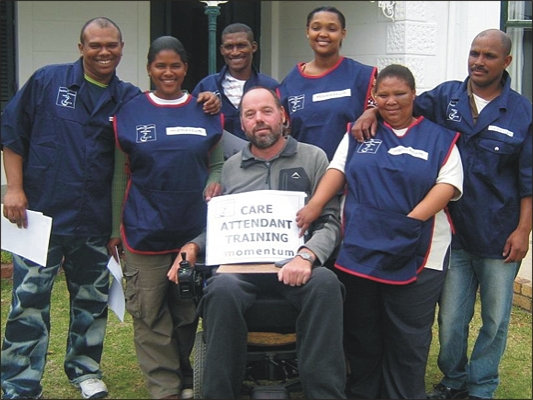 House Quasar: Ferdi Prins (Centre) and House Quasar staff on completion of the Care Attendant Training course, October 2008